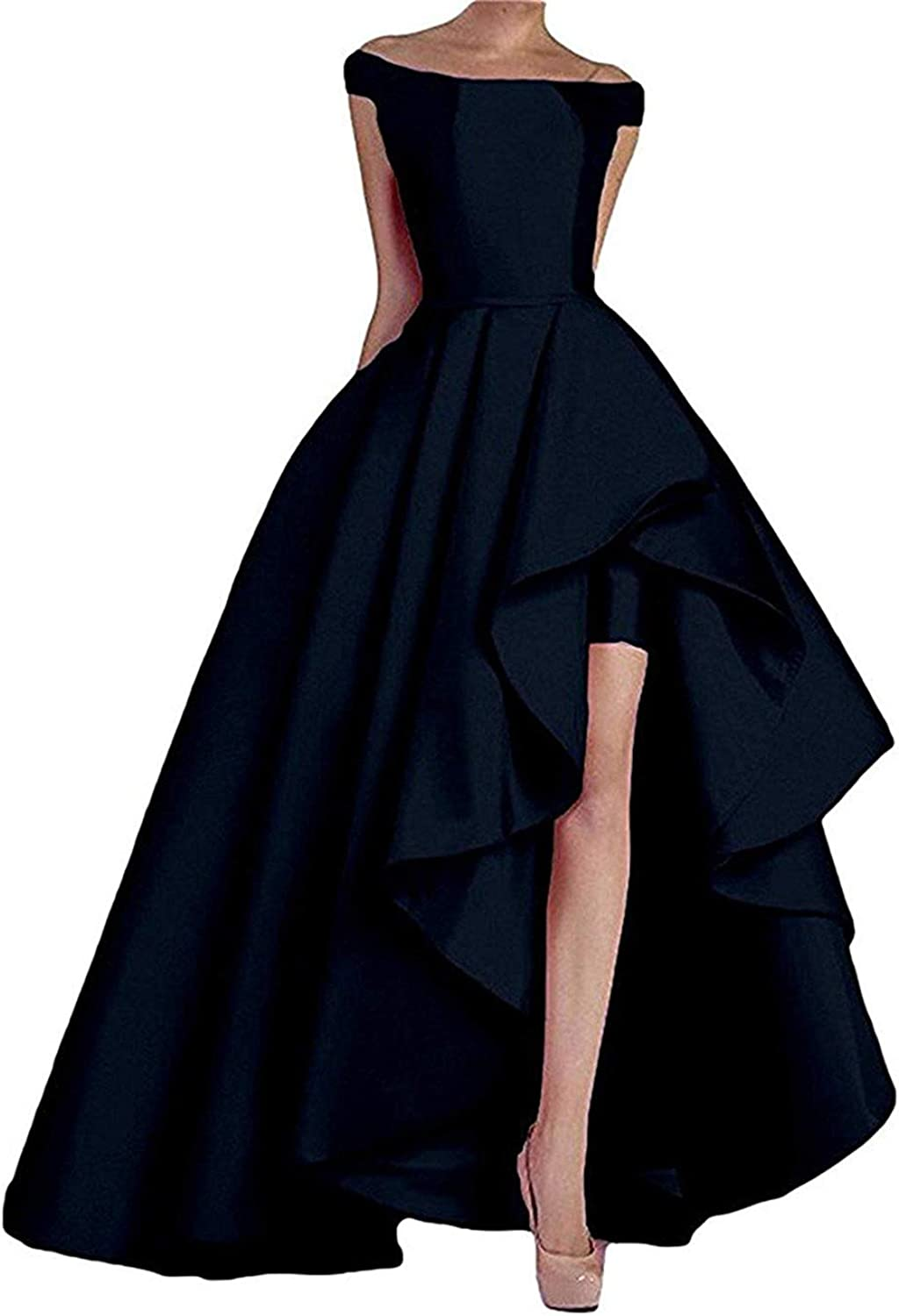 WHZZ Women's High Low Off The Shoulder Prom Dresses Long Satin Formal Evening Gowns