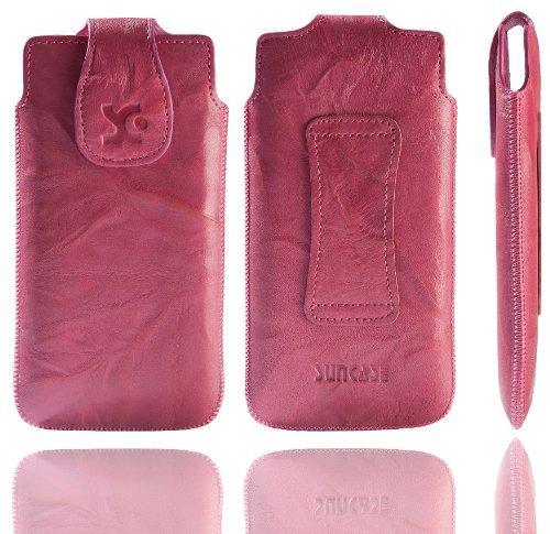Suncase Original Echt Ledertasche für das Huawei Ascend P6 in wash pink