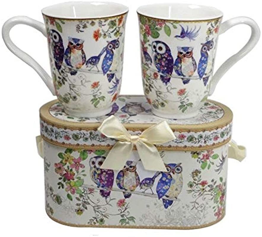 Lightahead Royal Bone China Unique Set Of Two Coffee Tea Mugs In An Family Of Owls Design