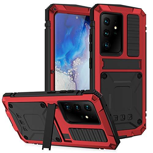 Funda para Samsung S21 Ultra, Metal Aluminio Cover Extreme Alta Resistencia Protector Shockproof Military Heavy Duty Carcasa para Samsung S21/S21 Plus/S21 Ultra,Red,S21Ultra