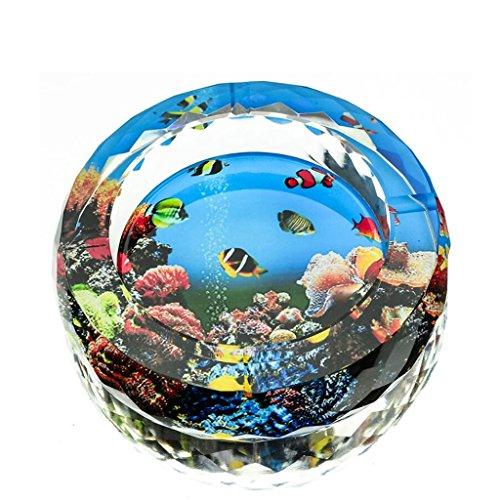 cendrier Xuan - worth having 3D Marine Creatures Color Printing Style Cirage à cristal rond en verre Accueil Décoration de salon (taille : 13 cm)