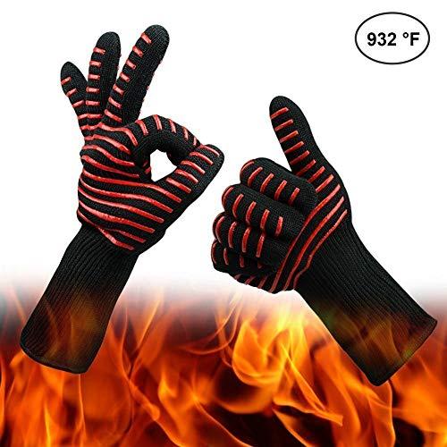 Hitzebeständige Grill Handschuhe -932 ° F (500 ℃) BBQ Kochen Handschuhe Ofen Handschuhe für Grillen, Braten & Backen Küche Safe Handling von Töpfen und Pfannen-Kamin / Herd / Potholder (Rote Streifen)