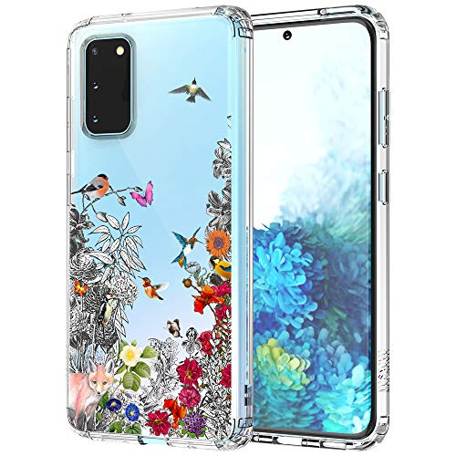 MOSNOVO Galaxy S20 Case, Floral Flower Humming Bird Clear Hard Case Design with Shockproof Protective Back Case Cover for Samsung Galaxy S20