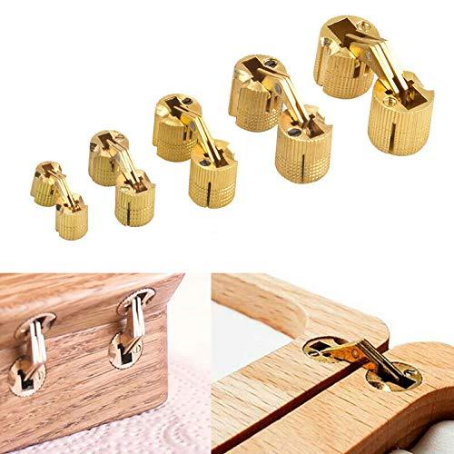 BE-TOOL Bisagra, bisagra invisible de latón de 14 mm de cobre puro oculto bisagra para caja de joyería, caja de regalo, encimeras (4 piezas/paquete)