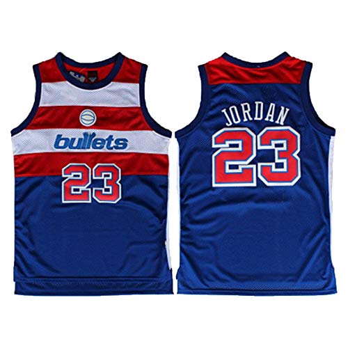 LFLY Jordan Basketball Jersey,Wizards #23 Bullet Edition Retro Jersey,Mesh Fan Edition(S-XXL) Blue-XL