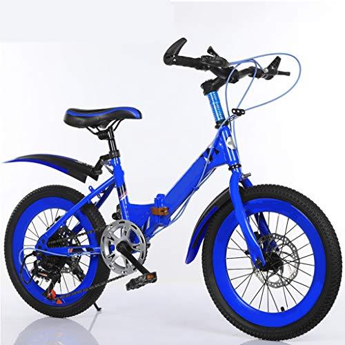 ANLW Kinder Klapprad Mountain22 Zoll 7-Gang-Fahrrad-Adjustable mit Basket Kinder-Fahrrad,Blau