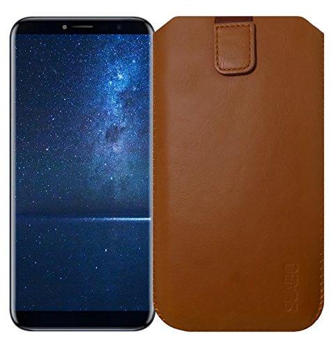 Slabo Schutzhülle für Cubot X18 (2017)   Cubot X18 Plus (2017) Schutztasche Handyhülle Hülle mit Magnetverschluss aus Kunstleder - BRAUN   Brown