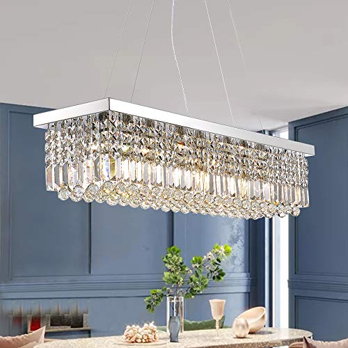7PM Rectangle K9 Crystal Chandelier Modern Rectangular Pendant Light Fixture for Dining Room Kitchen Island Chrome L40' x W10' x H10'
