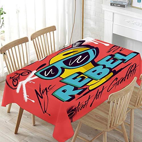 LIUBT Funny Graffiti Street Art Rebel Nappe rectangulaire lavable pour fête de mariage salle à manger pique-nique cuisine 137 x 137 cm