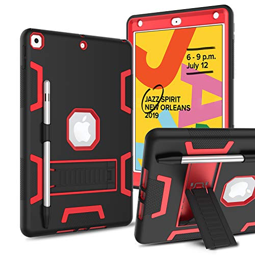 DONWELL Compatible iPad 10.2 inch 2019 Case, Hybrid Shockproof Defender Protection Cover with Pencil Holder and Kickstand Designed for iPad 7th Generation/iPad 7 (Red&Black)