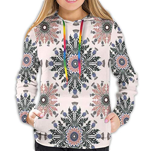 FULIYA Women's Hoodies Tops,Colorful Ethnic Ornament of Thistle Flowers with Curved Leaves and Stems Print,Lady Fashion Casual Sweatshirt(M