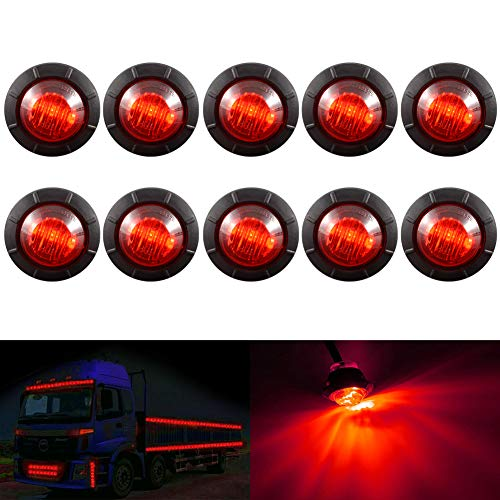 """KaTur 3/4 """"runde LED Vorne Hinten Seitenmarkierungsanzeigen Licht Wasserdichte Kugel Abstand Licht 12 V für Auto Lkw (Rot)"""