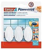 tesa Powerstrips️- Ganchos Adhesivos Oval para Pared - Montaje sin Taladrar - Alta Fuerza de Fijación hasta 2 kg con Tecnología Powerstrips - Paquete de 3 Unidades - Blanco