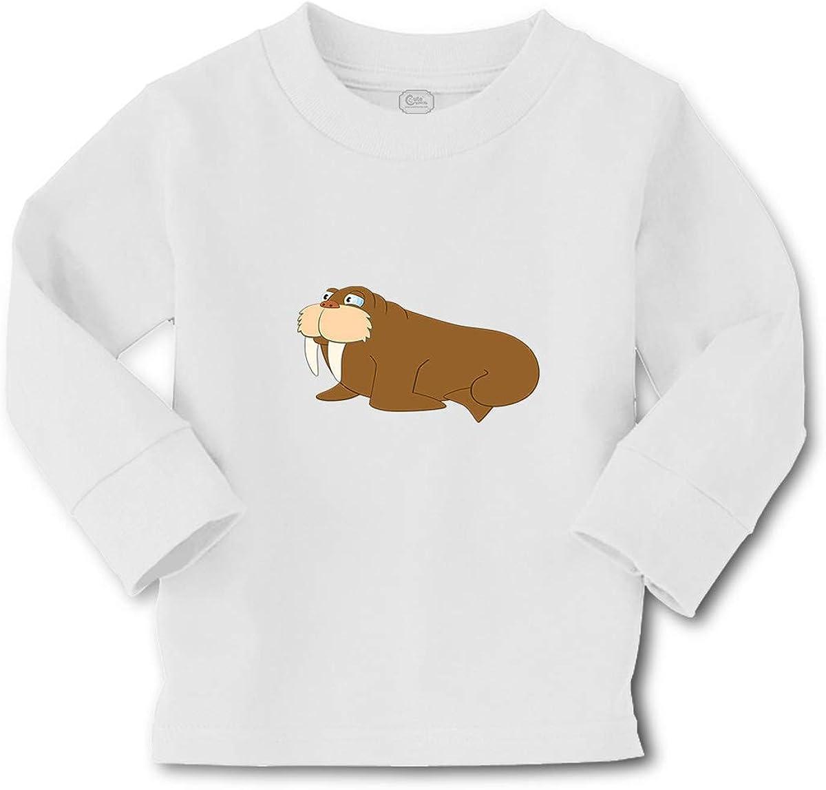Kids Long Sleeve T Shirt Walrus Ocean Sea Life Cotton Boy & Girl Clothes