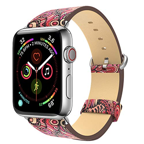MoKo Band Compatible with Apple Watch 38mm 40mm, Premium Genuine Leather Replacement Strap + Watch Lugs Fit iWatch 38mm 40mm Series 5/4/3/2/1, Red Bracken (Not Fit 42mm 44mm Versions)