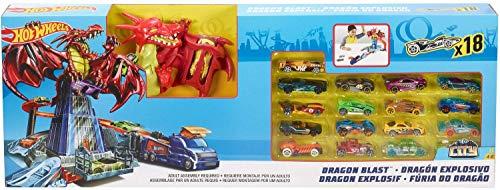 Mattel Hot Wheels FRR21 Dragon Blast Spiel-Set inkl. 18 Hot Wheels Die Cast Fahrzeuge Drachen Attacke