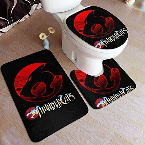 haoqianyanbaihuodian Thun-Der-Cat - Alfombra antideslizante de 3 piezas para baño, antideslizante, para puerta de suelo, bañera, contorno