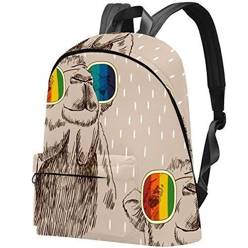 Kamel mit Brille Skizze arabische Kunst Bag Teens Student Bookbag Leichte Umhängetaschen Reiserucksack Tägliche Rucksäcke