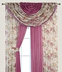 "Complete Window Set in a Bag. All the curtain panels and valances are attached in one piece for a super easy installation! All you need to do is insert in the curtain rod and you are set. 4 Panels of 55"" x 84"" each which are all attached together - K..."