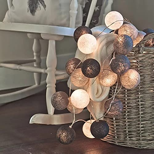 YQGOO 1,5 m / 3 m / 6 m Hilo de algodón Luces de Cadena de Bolas decoración LED Bombillas pequeñas adecuadas para Navidad Vacaciones Boda Patio Fiesta decoración del hogar lámpara