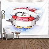 Tapisserie, tapisserie suspendue pour D & eacute; cor salon dortoir cochon dans un chapeau de père Noël avec illustration de lanterne vintage pour carte de voeux ou affiche imprimée sur, beige rose