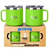Large Stainless Steel Coffee Mugs with Lids 16 oz, Set of 2 Double Wall Vacuum Insulated Metal Mugs with Handle - Lightweight, Unbreakable, Shatterproof, Durable, BPA Free