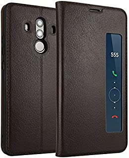 Leather Case Compatible with Huawei Mate 10 Pro, Genuine Leather Ultra Thin Flip Window View Stand Feature Case Cover Phone case (Color : Brown)