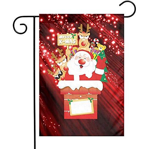 Zome Lag Frohe Kerstmis Santa open haard Outdoor vlag polyester vouwweerstand tuin vlaggen vervagen decoratieve vlag Duurzaam Welkom vlag voor Yard Lawn Dorms College Partners tuinvlag S(48X32) Zoals op de afbeelding.