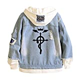 Tokisaki Anime Fullmetal Alchemist Jeans Jacket Edward Elric Cosplay Costume Alphonse Elric Hooded Sweatshirt Men Trucker Jacket (S, Fullmetal Alchemist Je-1)