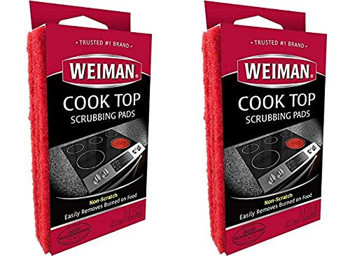 Weiman Cook Top Scrubbing Pads – Gently Clean and Remove Burnedon Food from All Smooth Top and Glass Cooktop Ranges 3 Reusable Pads Pack of 2