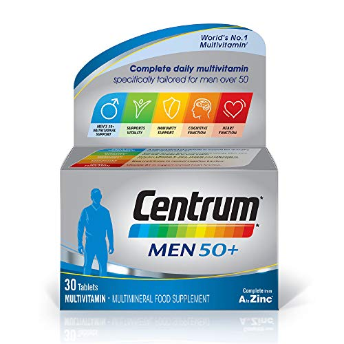 Centrum Men 50 Plus Multivitamins and Minerals Tablet, 30 Tablets (1 Month Supply), 24 Essential Nutrients Vitamins and Minerals Tailored for Men Over 50, Vitamin D, Complete from A - Zinc