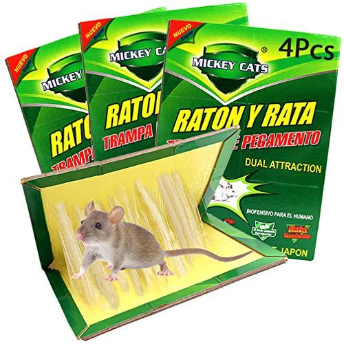 Y.A. LOTUS 4Pz Nuova Edizione Trappola Adesiva per Topi, Professionale Trappola per Colla Ratti per topino, Topo, Topolino, topolini, Ratto, Mouse - Rimozione efficiente dei roditori (34cm x 22cm)