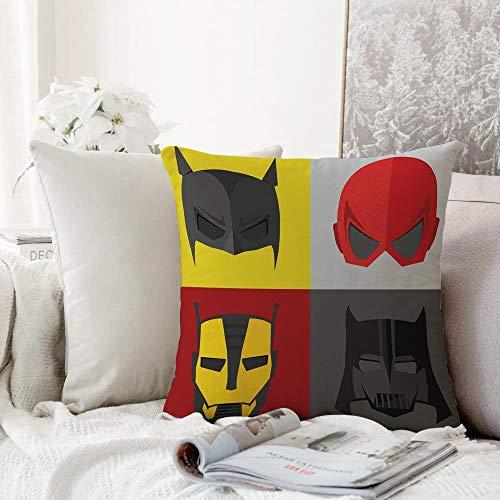 Fangguan decoración Cuadrada, Superhéroe, Máscaras para disfrazarse de héroes para Luchar contra el Mal Diversión Dibujos Animados RETR,Funda de Almohada Almohada para Coche Almohada para sofá casero