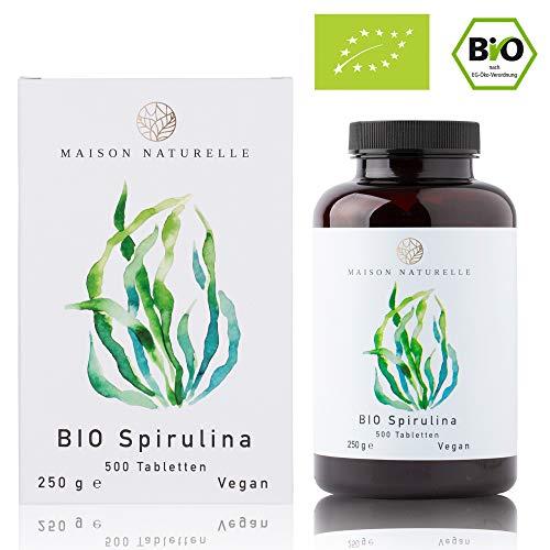 MAISON NATURELLE® Bio Spirulina Tabletten (500 Stück) - 100% reine Bio Spirulina Alge ohne Zusätze - Hochdosiert mit 6.000mg Bio Spirulina je Tagesdosis - 100% Vegan
