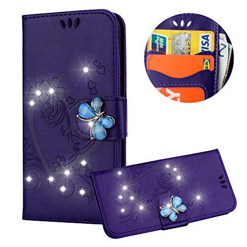 Lila Brieftasche für iPhone SE,Strass Handyhülle für iPhone 5S,Moiky Luxus Liebe Herze Muster 3D Schmetterling Dekor Magnetisch Kunstleder Stoßdämpfende Handytasche mit TPU