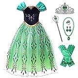 New front Vestido Niña Princesa Elsa Disfraz Reina de las Nieves Chica Princesa Anna Verde Diadema Varita Mágica Costume Navidad Carnaval Halloween Cumpleaños 3-8 Años Cosplay