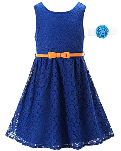 Lace Dress Girls Navy Flower Dress 7-16 Casual Dresses for Teens Wedding Party Easter Christmas Formal Dress with Belt Sleeveless Knee Length Lace Dress for Girls (Size 12-13 Years)=Navy Blue-180