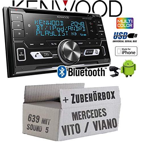 Mercedes Vito/Viano 639 - Autoradio Radio Kenwood DPX-5100BT - 2-DIN Bluetooth USB Apple Android Autoradio PKW KFZ Paket - Einbauzubehör - Einbauset
