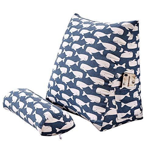 Cojín de cuña triangular ajustable para respaldo de lectura y cojín de respaldo de cama para sofá, oficina, silla de descanso de algodón y lino