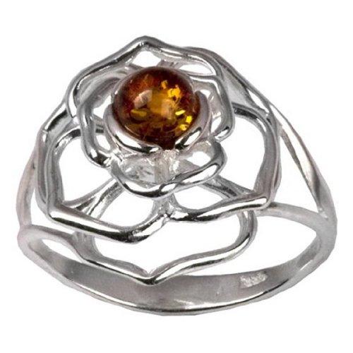 Sterling Silver Baltic Amber Celtic Flower Ring