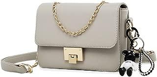 New Women's Small Square Bag Simple Wild Messenger Bag Fashion Single Shoulder Chain Bag (Color : Gray, Size : M)
