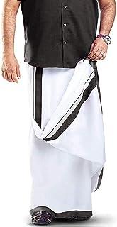 MCR Men's Pure Cotton Double Dhoti (White, Free Size),Black