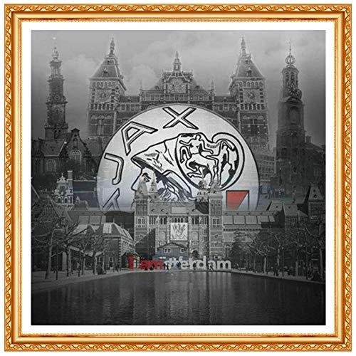 Vierkant landschap diamantschilderij Urban Cross Stitch Kit diamant kristal diamant borduurwerk Ajax patroon strass diamant schilderij kruis vierkante diamant 30 cm * 40 cm diamanttekening Huzi