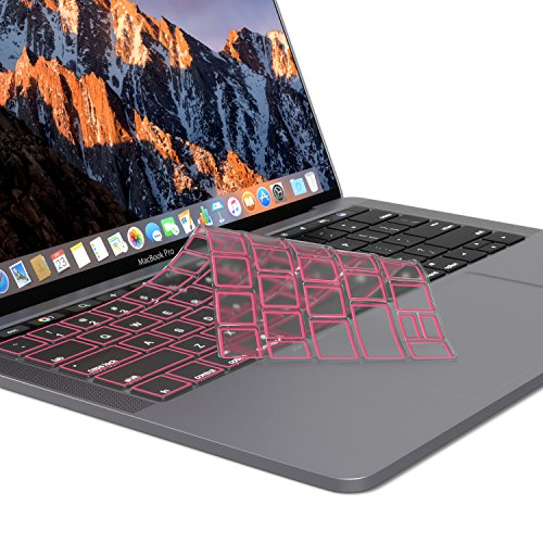 Kuzy MacBook Pro Keyboard Cover with Touch Bar 13 and 15 inch Premium Ultra Thin TPU 2019 2018 2017 2016 Apple Model A2159 A1989 A1990 A1706 A1707 Skin Protector, Pink