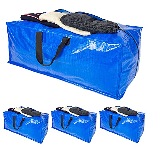 Heavy Duty Organizer Storage Bag - XL Moving Bags Totes with zippers for Clothing, College Moving Bags Compatible with Ikea Frakta Bag, 4 Packs