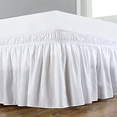 Biscaynebay Wrap Around Bed Skirt, Elastic Dust Ruffle Easy Fit, Wrinkle and Fade Resistant Solid Color Hotel Quality Fabric, King Size, White