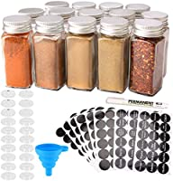 MONICA 14 Glass Spice Jars with w/2 Types of Spice Labels.4oz Empty Square Spice Bottles,Three Kinds of Shaker Lids and...
