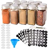 MONICA 14 Glass Spice Jars with w/2 Types of Spice Labels.4oz Empty Square