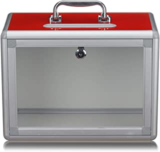 Portable Suggestion Box with Lock - Complaint Donation Election Donation Box - Collection Box - Desktop Ballot Box, Charity and Recommended Collection (red)