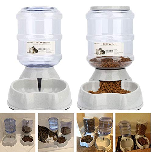 Blessed family Cat Water Fountain,Automatic Cat Feeder,Dog Water Dispenser,1 Gal Pet Automatic Feeder Waterer By (Pet Self Waterers+feeder)